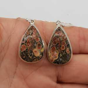 925 Sterling zilveren oorbellen gezet met Luipaard Jaspis