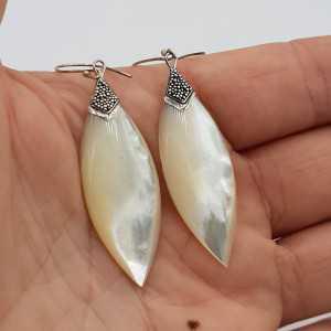 925 Sterling zilveren oorbellen met marquise Parelmoer