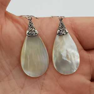 925 Sterling zilveren oorbellen met druppelvormige Parelmoer