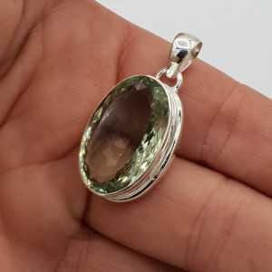 925 Sterling zilveren hanger met ovale groene Amethist