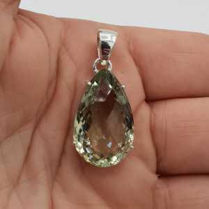 925 Sterling zilveren hanger druppelvormige groene Amethist