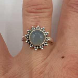 925 Sterling zilveren ring ronde aqua Chalcedoon 16.5 of 17.5 mm