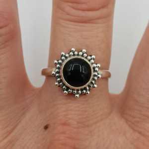 925 Sterling zilveren ring ronde zwarte Onyx 19 mm