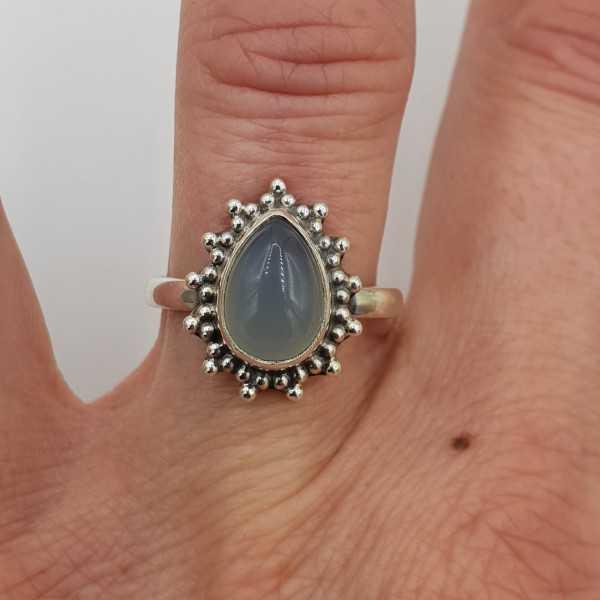 925 Sterling zilveren ring druppelvormige aqua Chalcedoon 17 of 17.5 mm