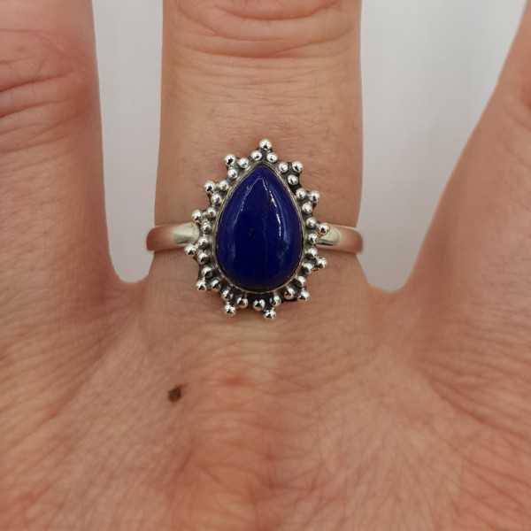 925 Sterling zilveren ring druppelvormige Lapis Lazuli 17 of 18 mm