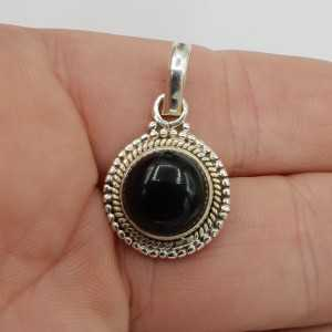 925 Sterling zilveren hanger met ronde zwarte Onyx