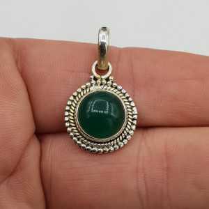 925 Sterling zilveren hanger met ronde groene Onyx