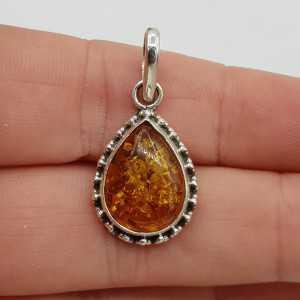 925 Sterling zilveren hanger gezet met druppelvormige Amber