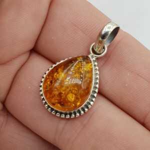 925 Sterling zilveren hanger gezet met Amber