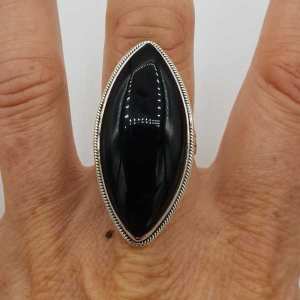 925 Sterling zilveren ring grote marquise zwarte Onyx 17.3 of 18.5 mm