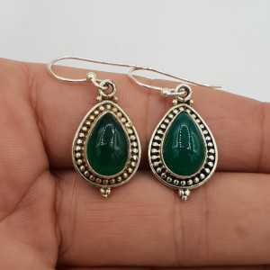 925 Sterling zilveren oorbellen gezet met groene Onyx