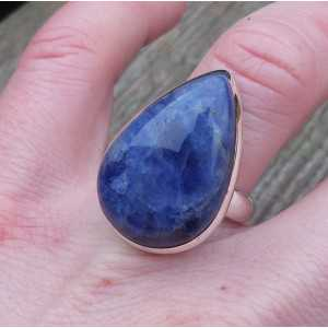 Silver ring set with oval shape Sodalite 17.7 mm