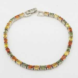 925 Sterling zilveren armband met gekleurde Saffieren