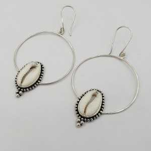 925 Sterling zilveren oorbellen ringen met Cowrie schelp