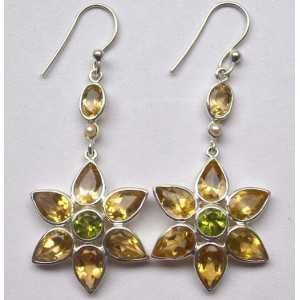 Silber lange Ohrringe Blume set mit Citrin und Peridot