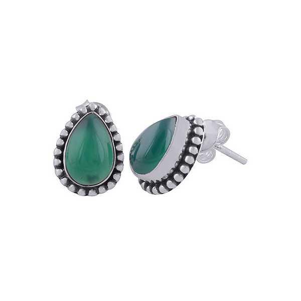 925 Sterling zilveren oorknoppen groene Onyx