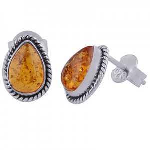 925 Sterling zilveren oorknoppen met druppelvormige Amber
