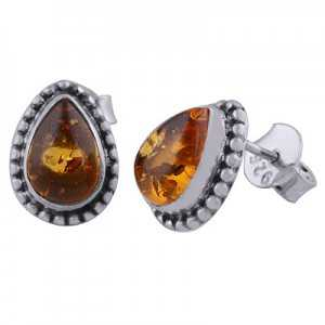 925 Sterling zilveren oorknoppen druppelvormige Amber