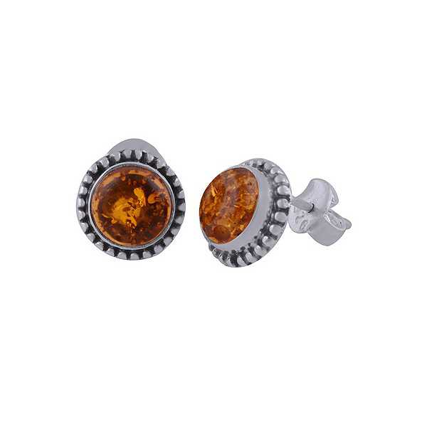 925 Sterling zilveren oorknoppen ronde Amber