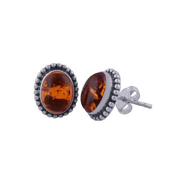 925 Sterling zilveren oorknoppen ovale Amber