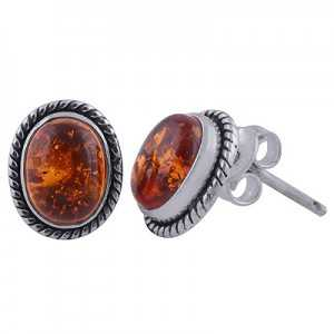 925 Sterling zilveren oorknoppen met ovale Amber