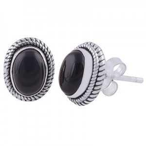 925 Sterling zilveren oorknoppen met ovale zwarte Onyx