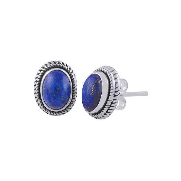 925 Sterling zilveren oorknoppen met ovale Lapis Lazuli