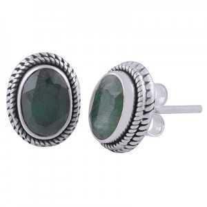 925 Sterling zilveren oorknoppen met ovale Emerald