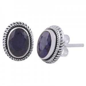 925 Sterling zilveren oorknoppen met ovale Saffier