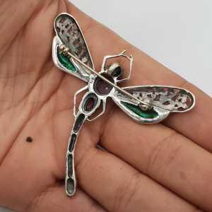 925 Sterling zilveren libelle met Amethist en Abalone schelp
