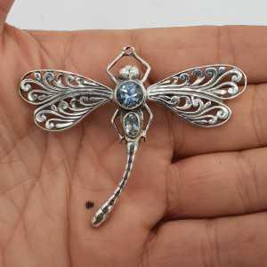 925 Sterling zilveren libelle hanger met blauw Topaas