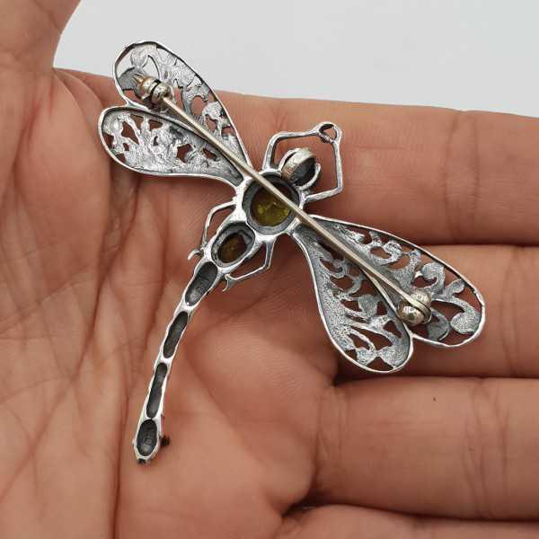 925 Sterling zilveren libelle hanger met Peridot