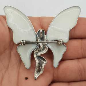 Zilveren vlinder hanger brooch gezet met Parelmoet