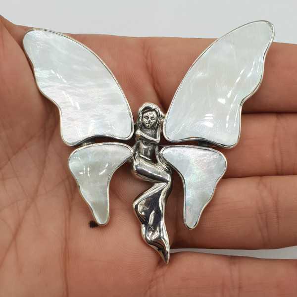 Zilveren vlinder hanger brooch gezet met Parelmoer