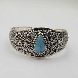 925 Sterling zilveren bangle met druppelvormige Larimar