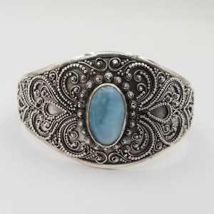 925 Sterling zilveren bangle met ovale Larimar