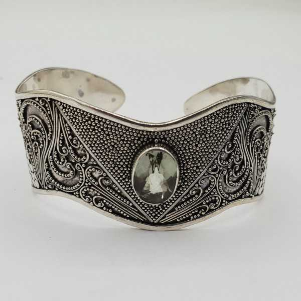 925 Sterling zilveren bangle met groene Amethist