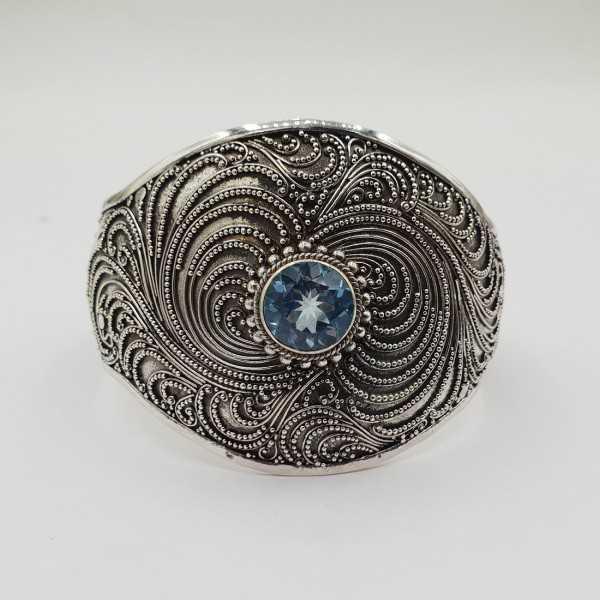 925 Sterling zilveren bangle met blauw Topaas