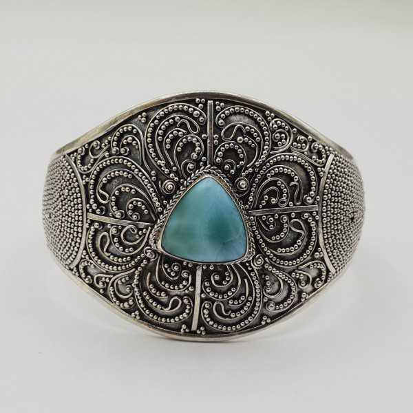 925 Sterling zilveren bangle met Larimar