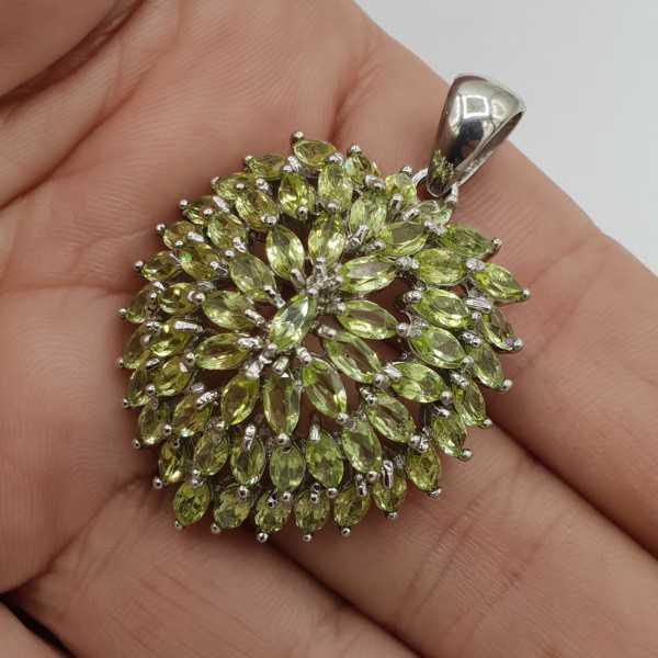 925 Sterling zilveren hanger hart gezet met Peridot