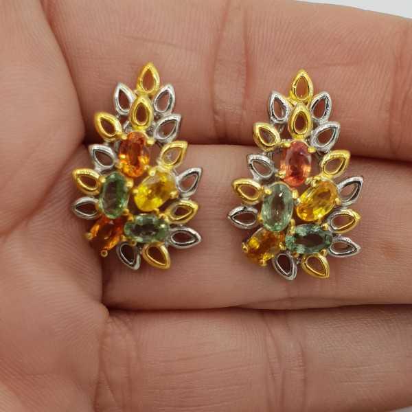 925 Sterling zilveren oorbellen met gekleurde Saffieren