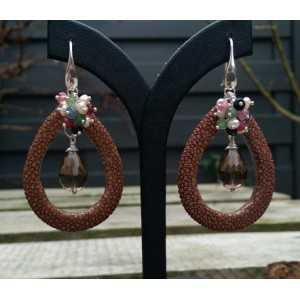 Silver earrings, Smokey Topaz briolet and brown Roggenleer