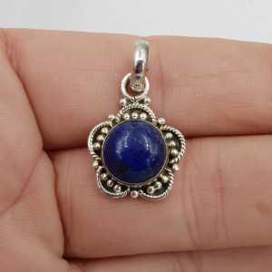 925 Sterling zilveren hanger ronde Lapis Lazuli