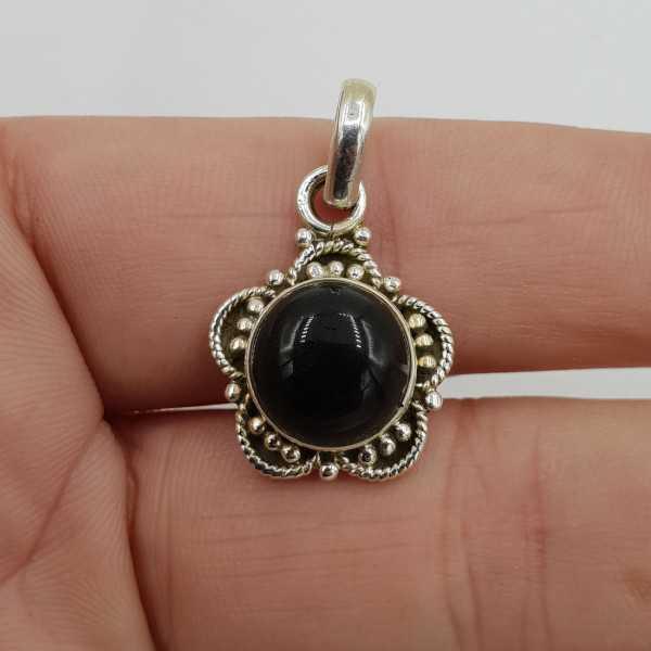 925 Sterling zilveren hanger ronde zwarte Onyx