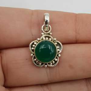 925 Sterling zilveren hanger ronde cabochon groene Onyx