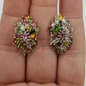 Zilveren oorbellen met marquise facet geslepen Toermalijn