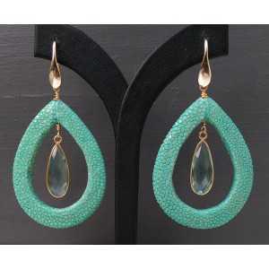 Vergoldete Ohrringe mit aqua blau Quarz und Roggenleer