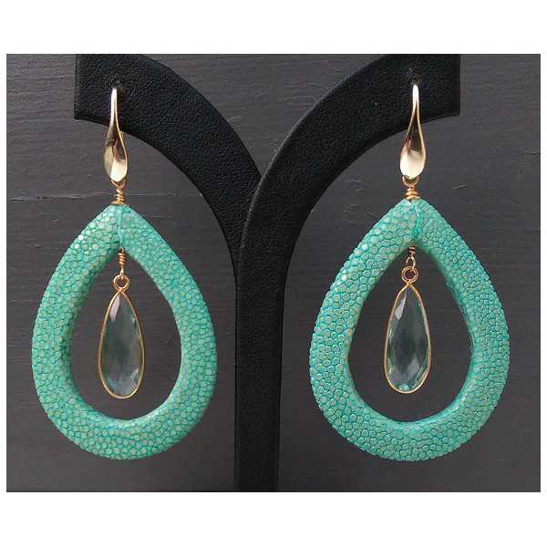 Vergulde oorbellen met aqua blauwe Kwarts en Roggenleer