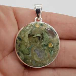 925 Sterling zilveren hanger ronde regenwoud Jaspis