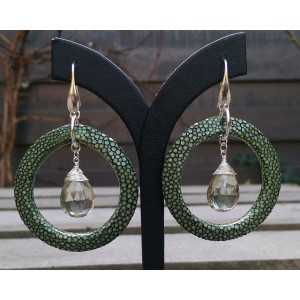 Silber-Ohrringe mit grünem Amethyst und grün Roggenleer